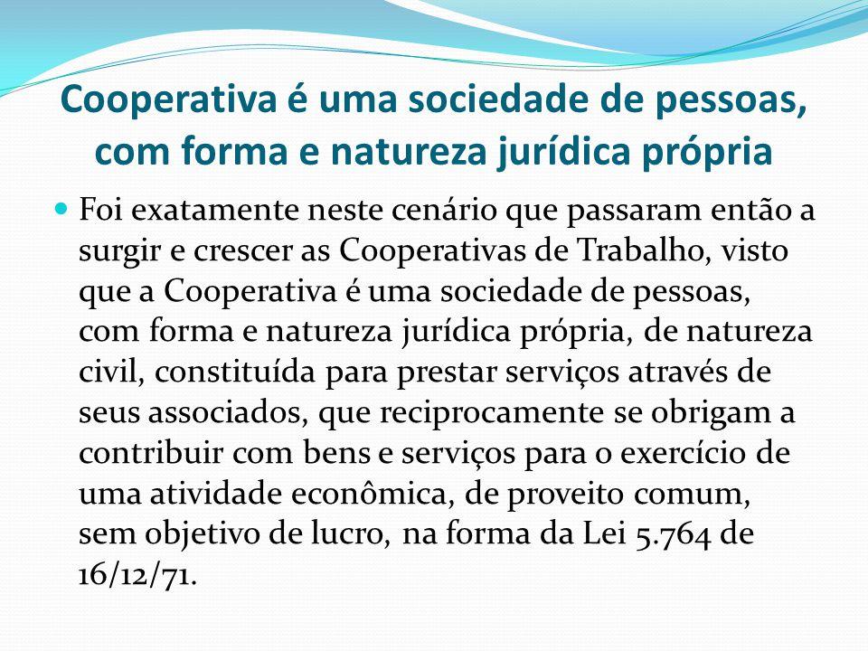 Cooperativa é uma sociedade de pessoas, com forma e natureza jurídica própria Foi exatamente neste cenário que passaram então a surgir e crescer as Co