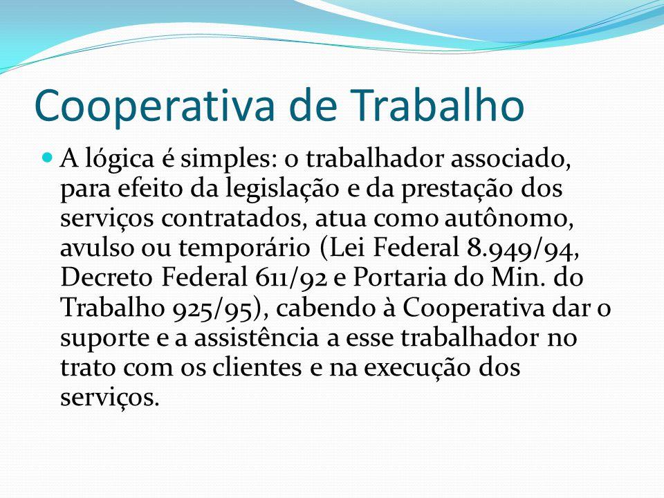 Cooperativa de Trabalho A lógica é simples: o trabalhador associado, para efeito da legislação e da prestação dos serviços contratados, atua como autô