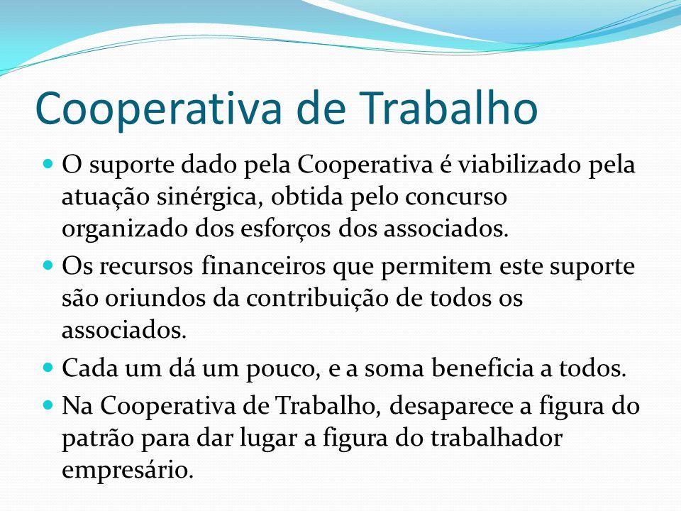 Cooperativa de Trabalho O suporte dado pela Cooperativa é viabilizado pela atuação sinérgica, obtida pelo concurso organizado dos esforços dos associa