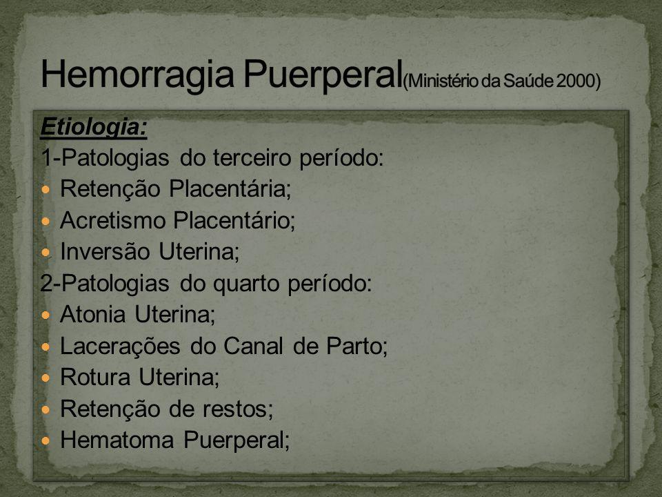 Etiologia: 1-Patologias do terceiro período: Retenção Placentária; Acretismo Placentário; Inversão Uterina; 2-Patologias do quarto período: Atonia Ute