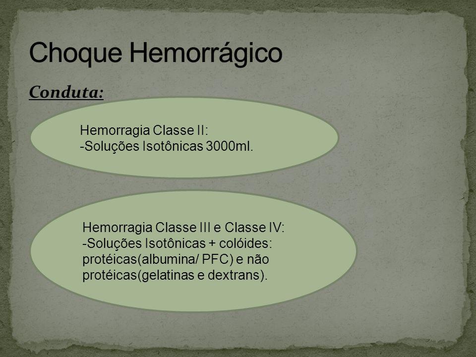 Conduta: Hemorragia Classe II: -Soluções Isotônicas 3000ml. Hemorragia Classe III e Classe IV: -Soluções Isotônicas + colóides: protéicas(albumina/ PF