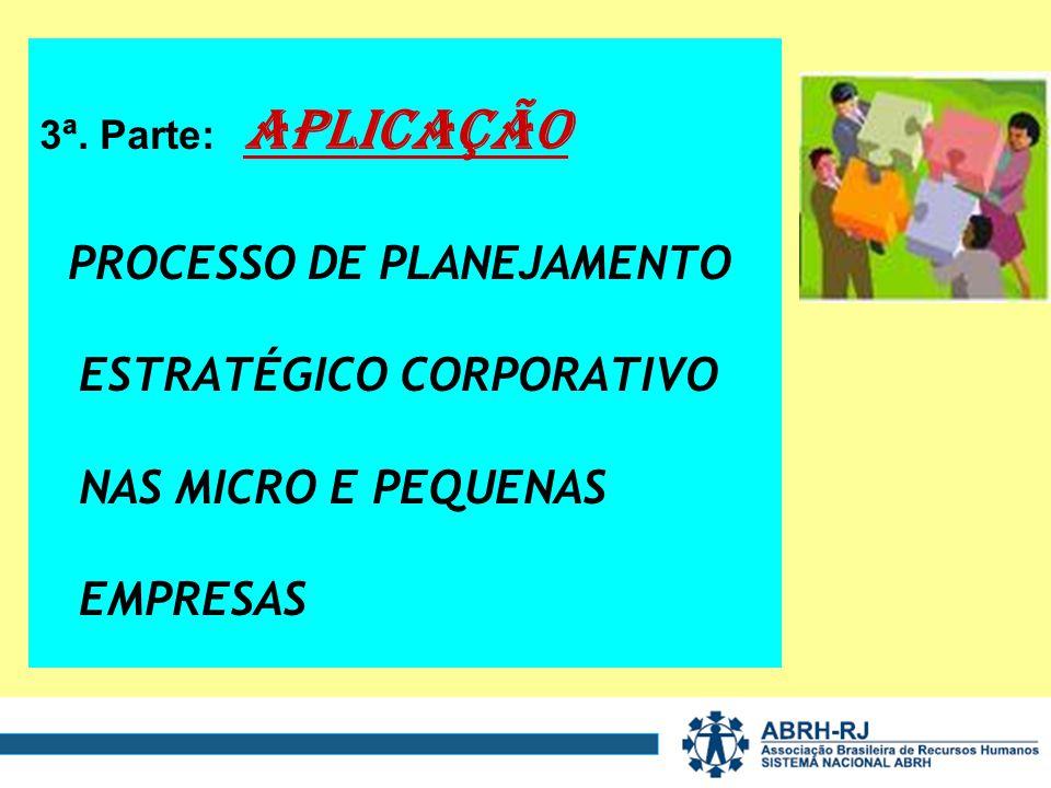 3ª. Parte: APLICAÇÃO PROCESSO DE PLANEJAMENTO ESTRATÉGICO CORPORATIVO NAS MICRO E PEQUENAS EMPRESAS