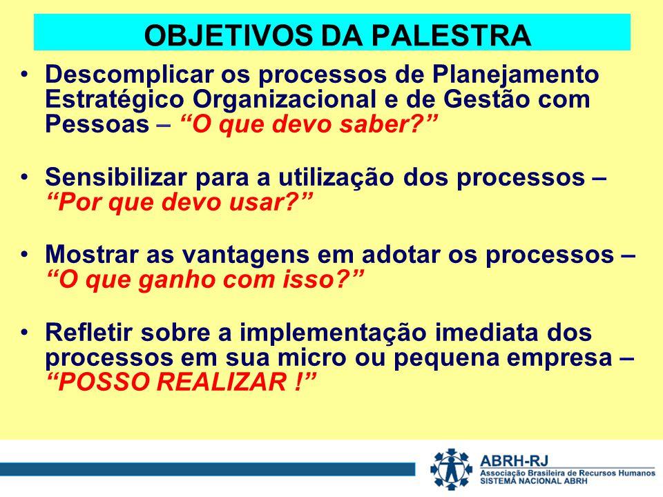 OBJETIVOS DA PALESTRA Descomplicar os processos de Planejamento Estratégico Organizacional e de Gestão com Pessoas – O que devo saber.