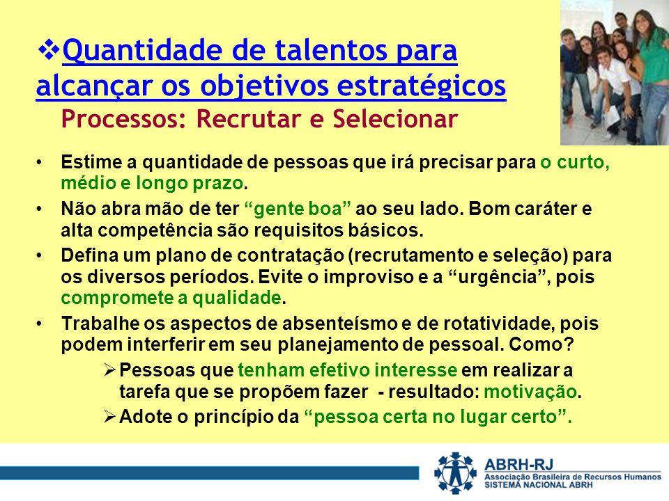 Quantidade de talentos para alcançar os objetivos estratégicos Processos: Recrutar e Selecionar Estime a quantidade de pessoas que irá precisar para o curto, médio e longo prazo.