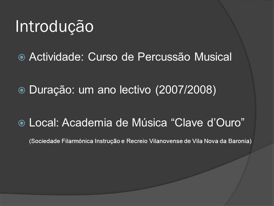 Introdução Actividade: Curso de Percussão Musical Duração: um ano lectivo (2007/2008) Local: Academia de Música Clave dOuro (Sociedade Filarmónica Instrução e Recreio Vilanovense de Vila Nova da Baronia)