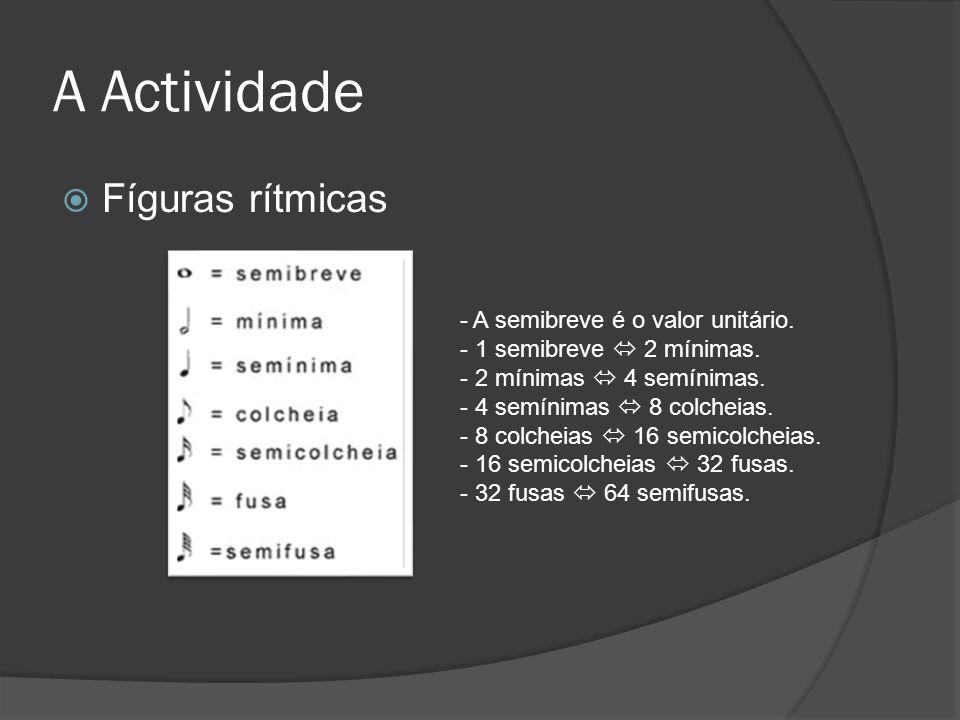 A Actividade Fíguras rítmicas - A semibreve é o valor unitário. - 1 semibreve 2 mínimas. - 2 mínimas 4 semínimas. - 4 semínimas 8 colcheias. - 8 colch