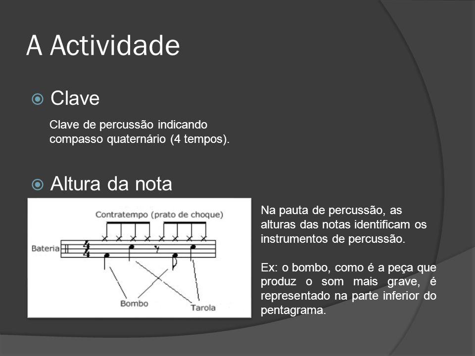 A Actividade Clave Altura da nota Clave de percussão indicando compasso quaternário (4 tempos). Na pauta de percussão, as alturas das notas identifica