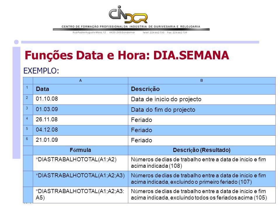 Janeiro de 2010 António Ferreira 12 Funções Data e Hora: DIA.SEMANA EXEMPLO: AB 1 DataDescri ç ão 2 01.10.08 Data de in í cio do projecto 3 01.03.09 D