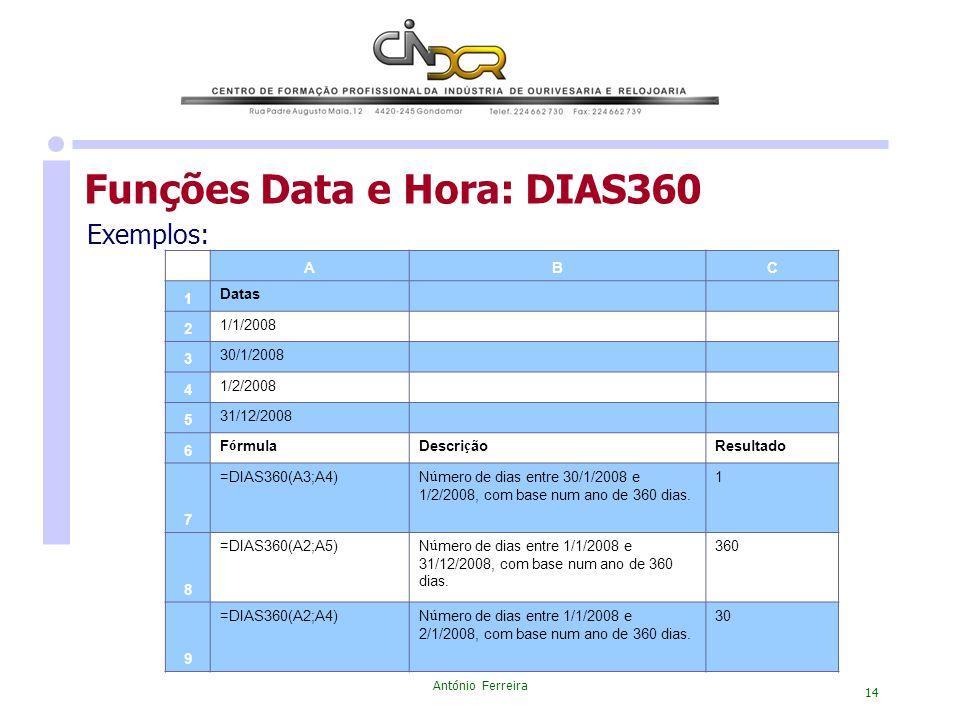 António Ferreira 14 Exemplos: Funções Data e Hora: DIAS360 ABC 1 Datas 2 1/1/2008 3 30/1/2008 4 1/2/2008 5 31/12/2008 6 F ó rmulaDescri ç ãoResultado