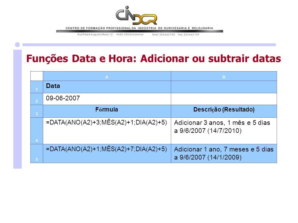 Funções Data e Hora: Adicionar ou subtrair datas AB 1 Data 2 09-06-2007 3 F ó rmulaDescri ç ão (Resultado) 4 =DATA(ANO(A2)+3;MÊS(A2)+1;DIA(A2)+5) Adic