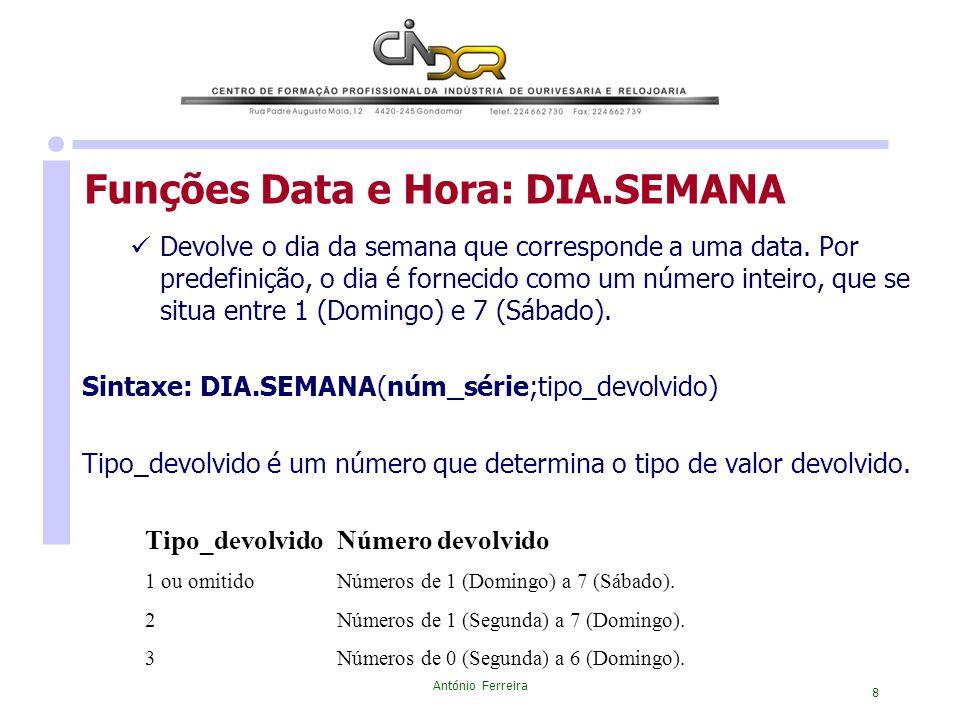 António Ferreira 8 Devolve o dia da semana que corresponde a uma data. Por predefinição, o dia é fornecido como um número inteiro, que se situa entre