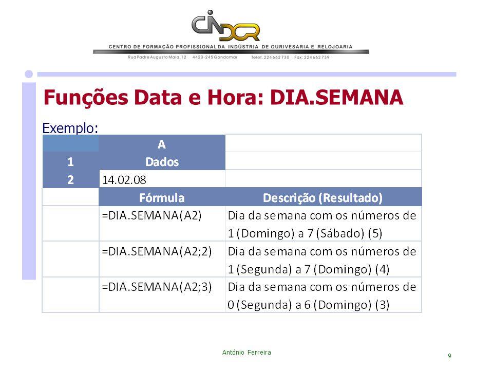 António Ferreira 9 Exemplo: Funções Data e Hora: DIA.SEMANA