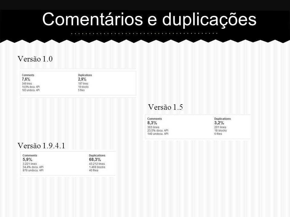 Versão 1.0 Versão 1.5 Versão 1.9.4.1 Comentários e duplicações