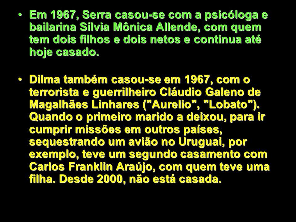 Em 1967, Serra casou-se com a psicóloga e bailarina Sílvia Mônica Allende, com quem tem dois filhos e dois netos e continua até hoje casado.Em 1967, Serra casou-se com a psicóloga e bailarina Sílvia Mônica Allende, com quem tem dois filhos e dois netos e continua até hoje casado.