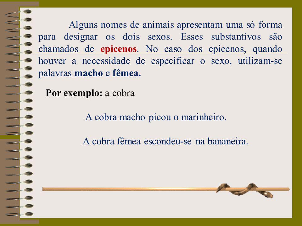 Alguns nomes de animais apresentam uma só forma para designar os dois sexos. Esses substantivos são chamados de epicenos. No caso dos epicenos, quando