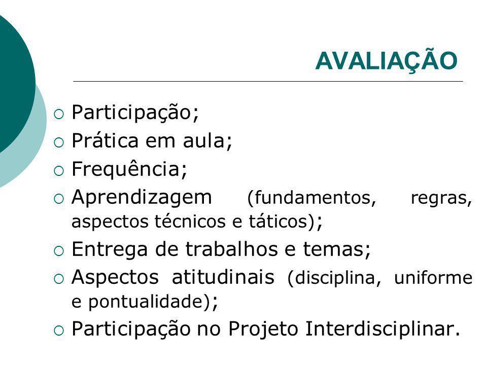 AVALIAÇÃO Participação; Prática em aula; Frequência; Aprendizagem (fundamentos, regras, aspectos técnicos e táticos) ; Entrega de trabalhos e temas; A
