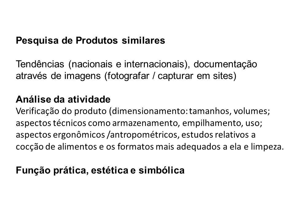 Pesquisa de Produtos similares Tendências (nacionais e internacionais), documentação através de imagens (fotografar / capturar em sites) Análise da at