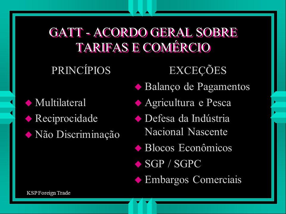 GATT - ACORDO GERAL SOBRE TARIFAS E COMÉRCIO PRINCÍPIOS u Multilateral u Reciprocidade u Não Discriminação EXCEÇÕES u Balanço de Pagamentos u Agricult