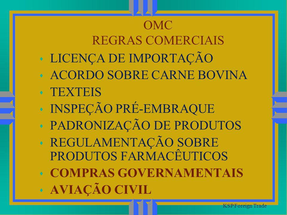 OMC REGRAS COMERCIAIS KSP Foreign Trade s LICENÇA DE IMPORTAÇÃO s ACORDO SOBRE CARNE BOVINA s TEXTEIS s INSPEÇÃO PRÉ-EMBRAQUE s PADRONIZAÇÃO DE PRODUT