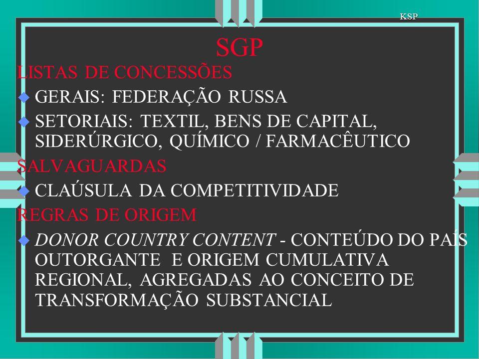 SGP SGP LISTAS DE CONCESSÕES u GERAIS: FEDERAÇÃO RUSSA u SETORIAIS: TEXTIL, BENS DE CAPITAL, SIDERÚRGICO, QUÍMICO / FARMACÊUTICO SALVAGUARDAS u CLAÚSU