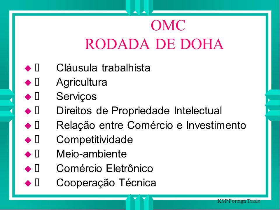 OMC RODADA DE DOHA Cláusula trabalhista Agricultura Serviços Direitos de Propriedade Intelectual Relação entre Comércio e Investimento Competitividade