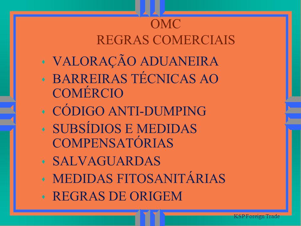 OMC REGRAS COMERCIAIS KSP Foreign Trade s VALORAÇÃO ADUANEIRA s BARREIRAS TÉCNICAS AO COMÉRCIO s CÓDIGO ANTI-DUMPING s SUBSÍDIOS E MEDIDAS COMPENSATÓR