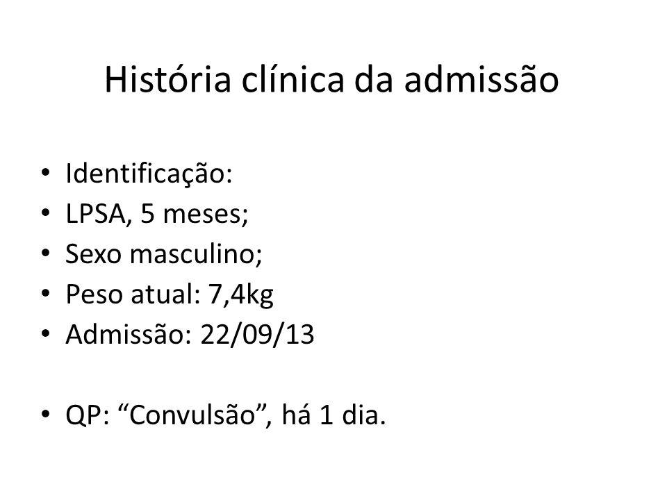 História clínica da admissão Identificação: LPSA, 5 meses; Sexo masculino; Peso atual: 7,4kg Admissão: 22/09/13 QP: Convulsão, há 1 dia.