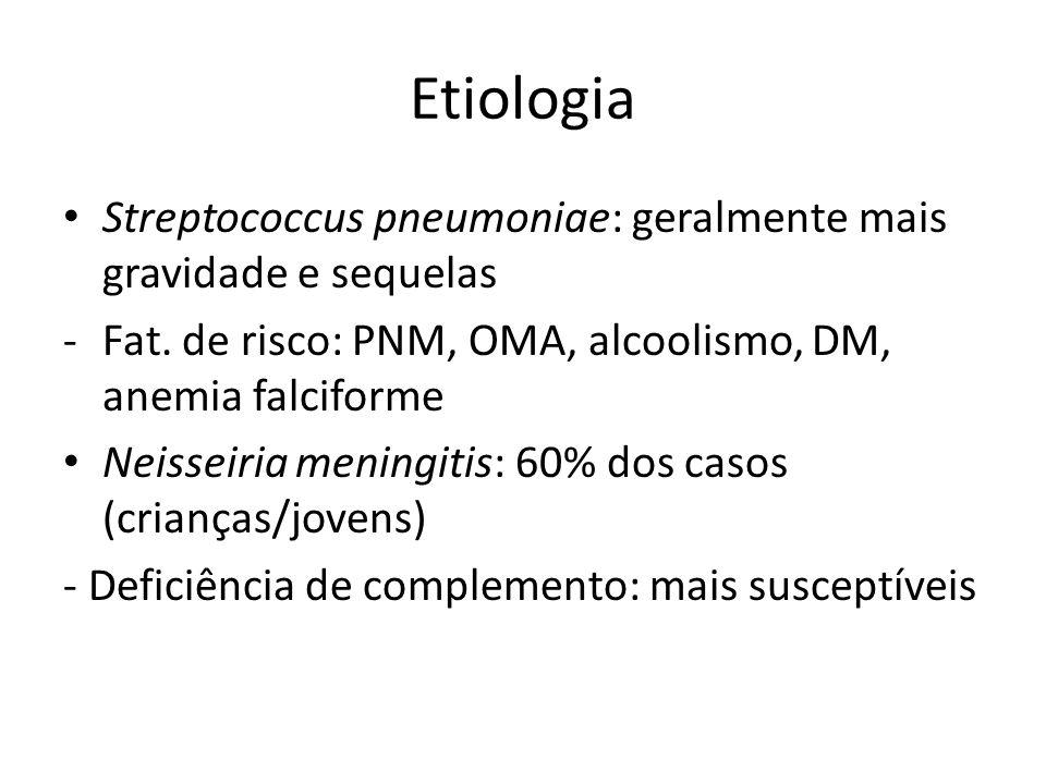 Etiologia Streptococcus pneumoniae: geralmente mais gravidade e sequelas -Fat. de risco: PNM, OMA, alcoolismo, DM, anemia falciforme Neisseiria mening