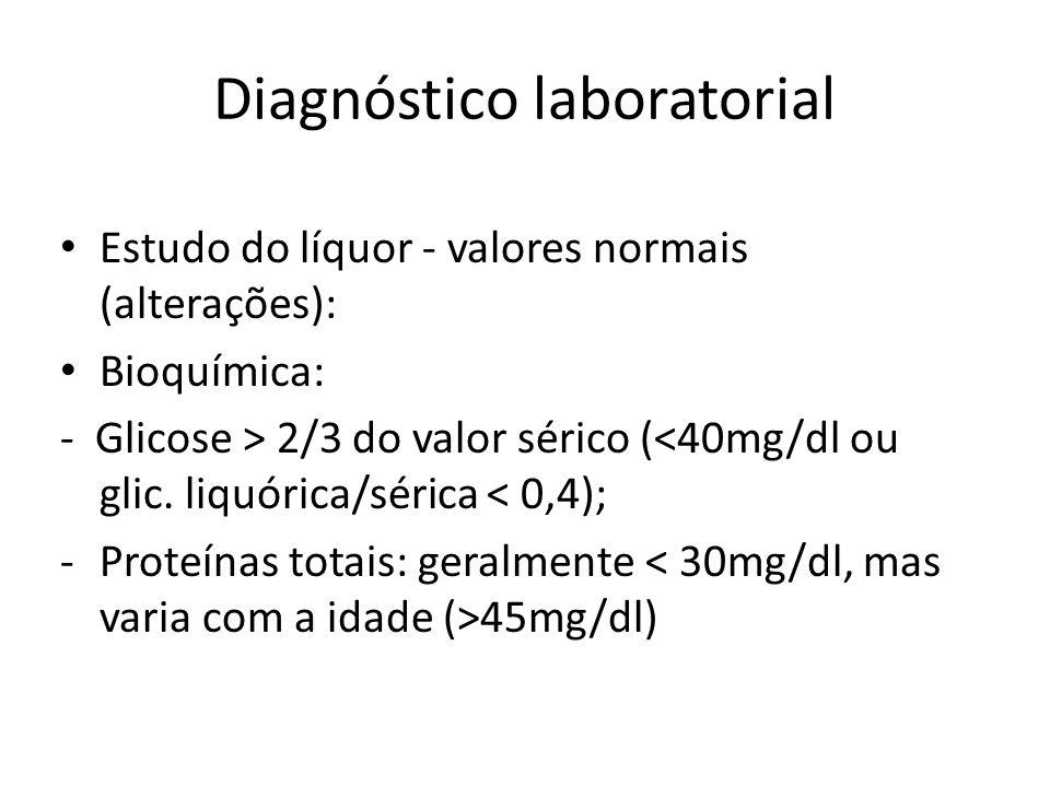 Diagnóstico laboratorial Estudo do líquor - valores normais (alterações): Bioquímica: - Glicose > 2/3 do valor sérico (<40mg/dl ou glic. liquórica/sér