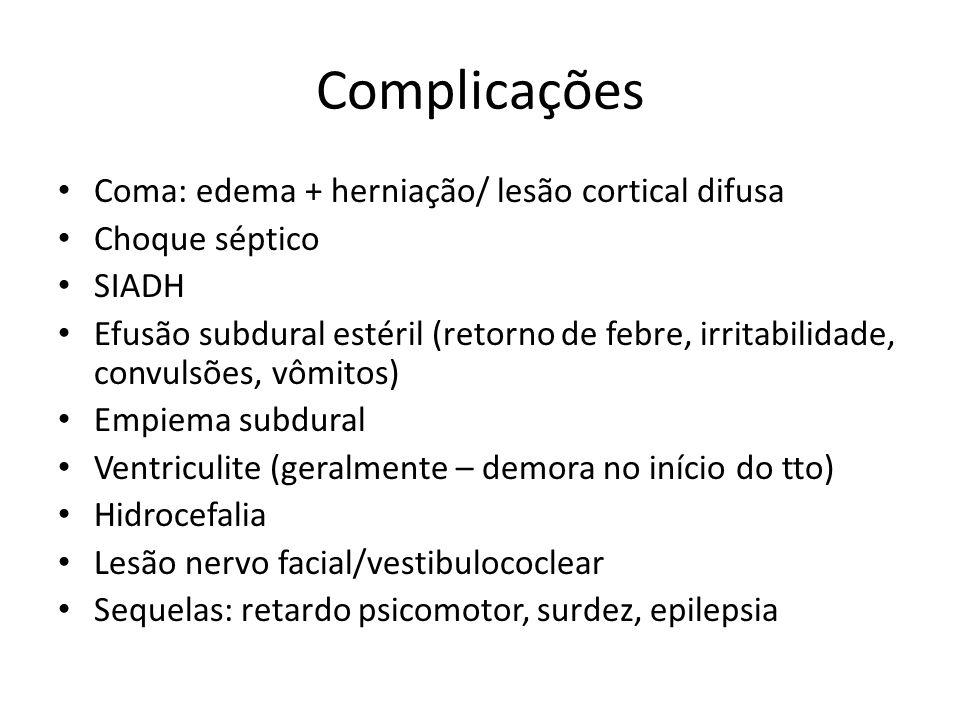 Complicações Coma: edema + herniação/ lesão cortical difusa Choque séptico SIADH Efusão subdural estéril (retorno de febre, irritabilidade, convulsões