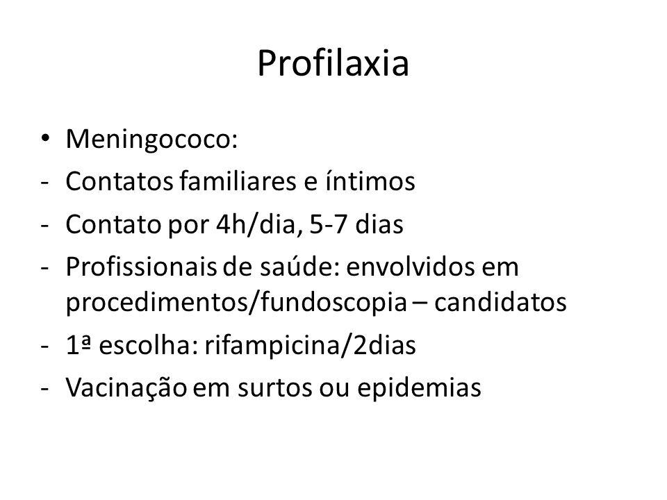 Profilaxia Meningococo: -Contatos familiares e íntimos -Contato por 4h/dia, 5-7 dias -Profissionais de saúde: envolvidos em procedimentos/fundoscopia