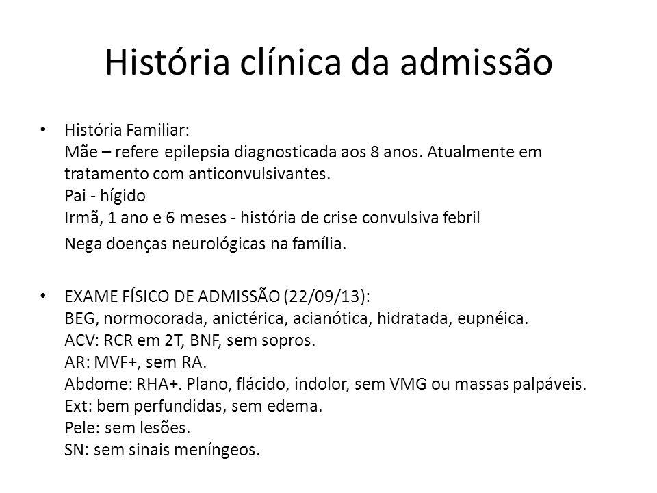 História clínica da admissão História Familiar: Mãe – refere epilepsia diagnosticada aos 8 anos. Atualmente em tratamento com anticonvulsivantes. Pai