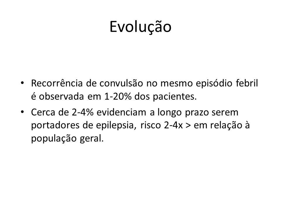 Evolução Recorrência de convulsão no mesmo episódio febril é observada em 1-20% dos pacientes. Cerca de 2-4% evidenciam a longo prazo serem portadores