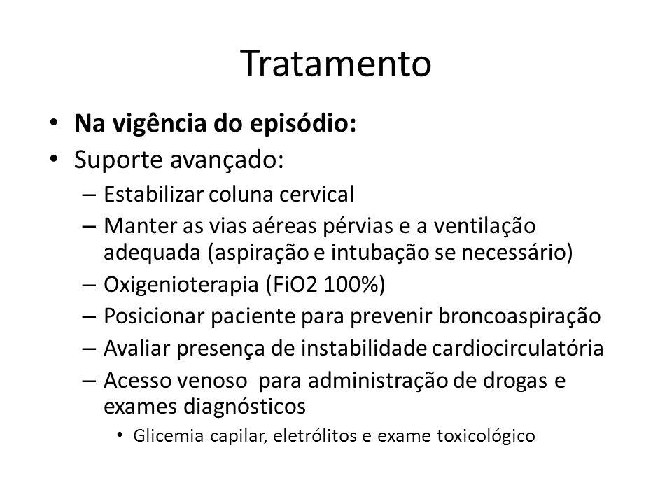 Tratamento Na vigência do episódio: Suporte avançado: – Estabilizar coluna cervical – Manter as vias aéreas pérvias e a ventilação adequada (aspiração