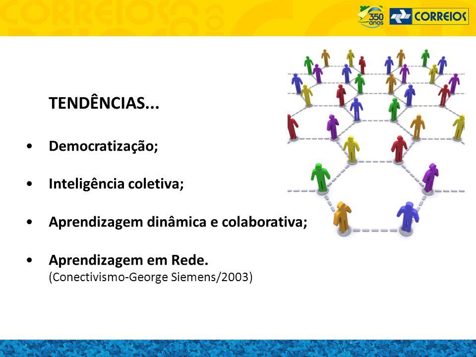 TENDÊNCIAS... Democratização; Inteligência coletiva; Aprendizagem dinâmica e colaborativa; Aprendizagem em Rede. (Conectivismo-George Siemens/2003)