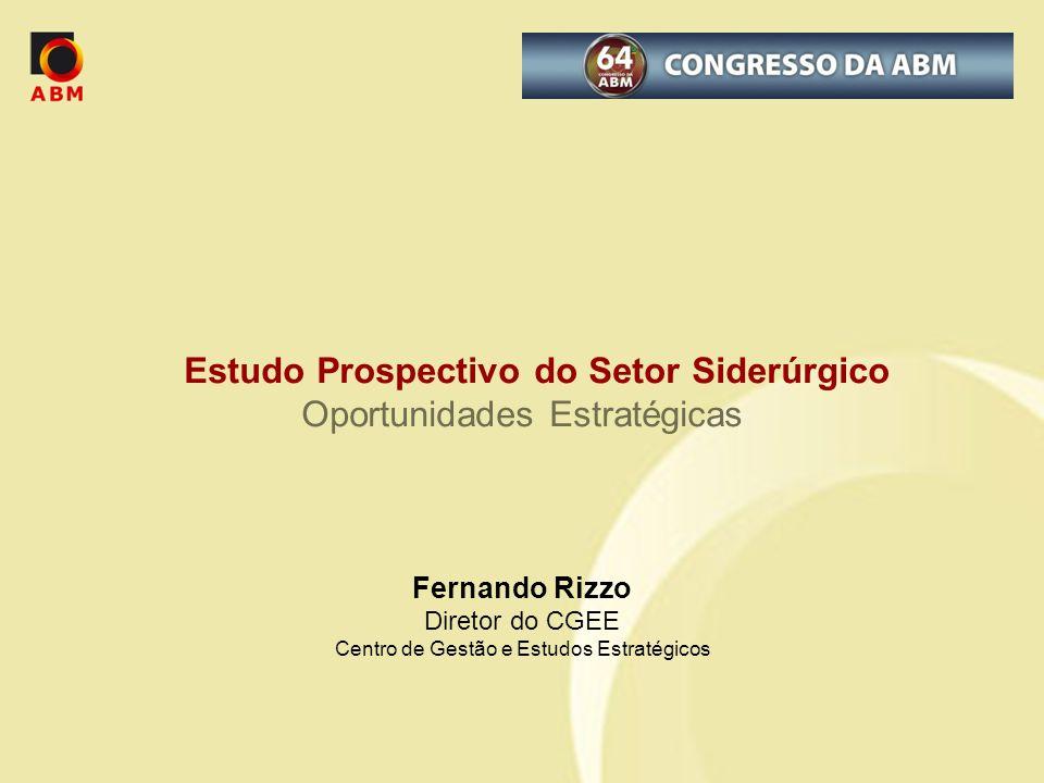 Estudo Prospectivo do Setor Siderúrgico Oportunidades Estratégicas Fernando Rizzo Diretor do CGEE Centro de Gestão e Estudos Estratégicos