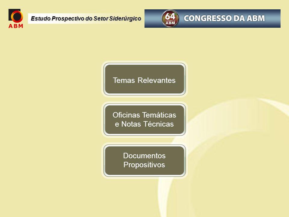 Estudo Prospectivo do Setor Siderúrgico Oficinas Temáticas e Notas Técnicas Temas Relevantes Documentos Propositivos