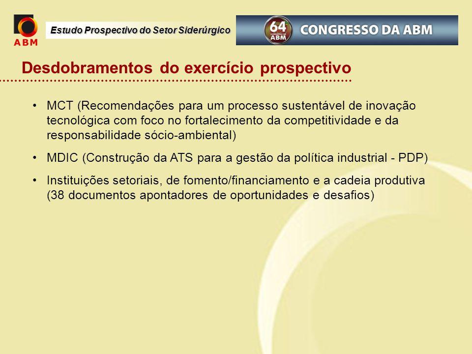Estudo Prospectivo do Setor Siderúrgico Desdobramentos do exercício prospectivo MCT (Recomendações para um processo sustentável de inovação tecnológic
