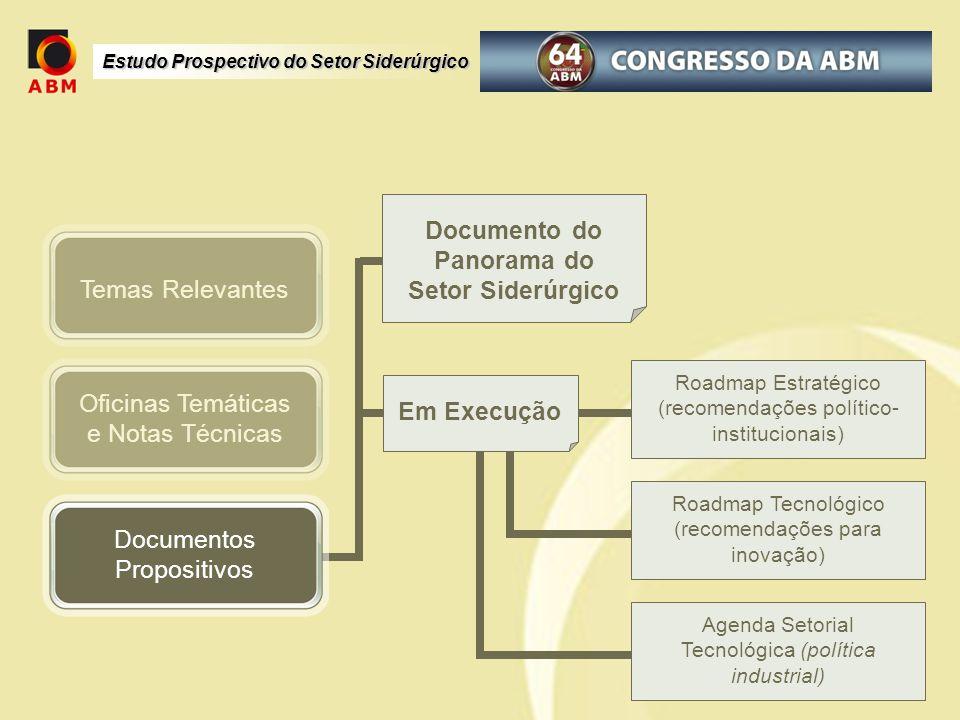 Estudo Prospectivo do Setor Siderúrgico Oficinas Temáticas e Notas Técnicas Documentos Propositivos Temas Relevantes Documento do Panorama do Setor Si