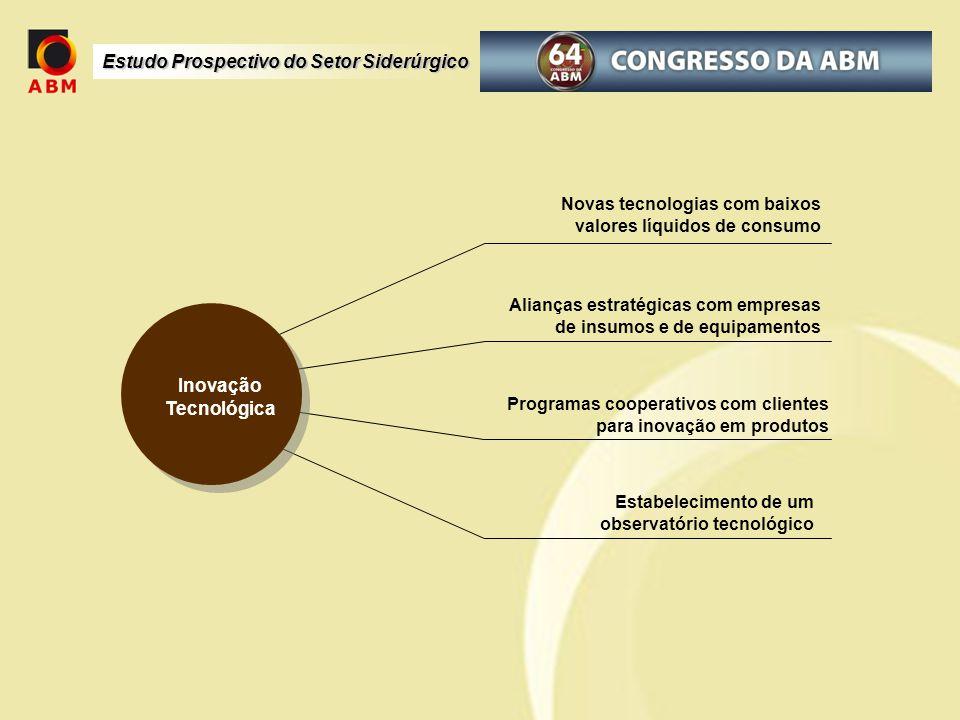 Estudo Prospectivo do Setor Siderúrgico Novas tecnologias com baixos valores líquidos de consumo Alianças estratégicas com empresas de insumos e de eq