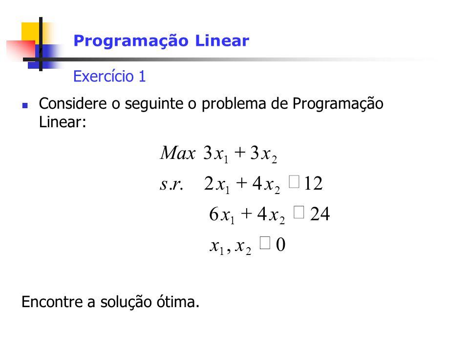 , Programação Linear Exercício 1 Considere o seguinte o problema de Programação Linear: Encontre a solução ótima.