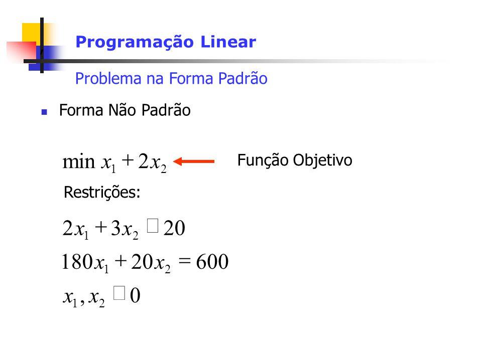 , Programação Linear Problema na Forma Padrão Forma Não Padrão Restrições: Função Objetivo 0, 60020180 2032 2min 21 21 21 21 xx xx xx xx