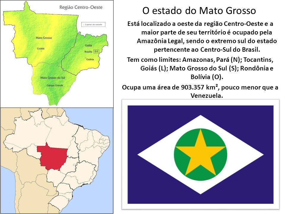 O estado do Mato Grosso Está localizado a oeste da região Centro-Oeste e a maior parte de seu território é ocupado pela Amazônia Legal, sendo o extremo sul do estado pertencente ao Centro-Sul do Brasil.