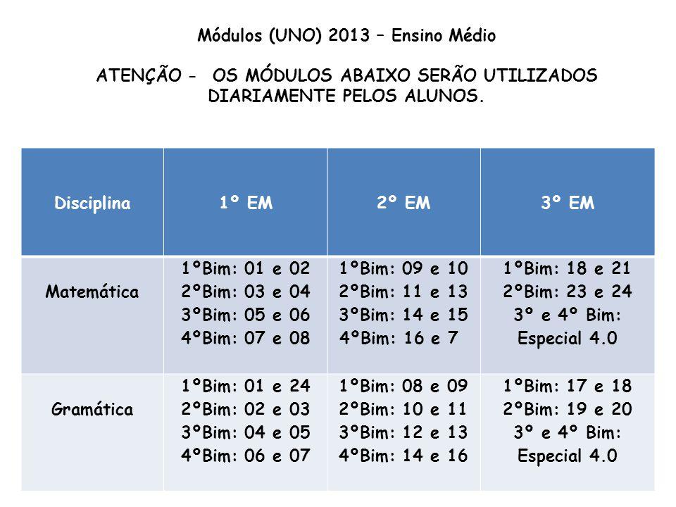 Módulos (UNO) 2013 – Ensino Médio ATENÇÃO - OS MÓDULOS ABAIXO SERÃO UTILIZADOS DIARIAMENTE PELOS ALUNOS. Disciplina1º EM2º EM3º EM Matemática 1ºBim: 0