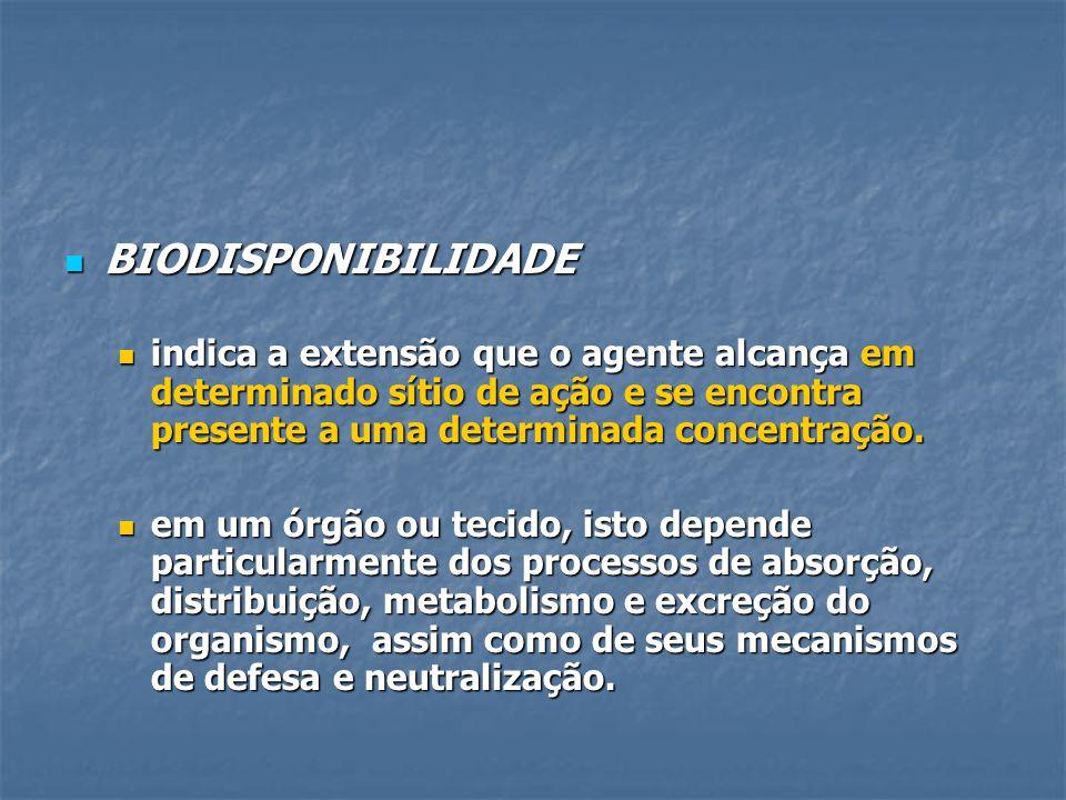 BIODISPONIBILIDADE BIODISPONIBILIDADE indica a extensão que o agente alcança em determinado sítio de ação e se encontra presente a uma determinada con