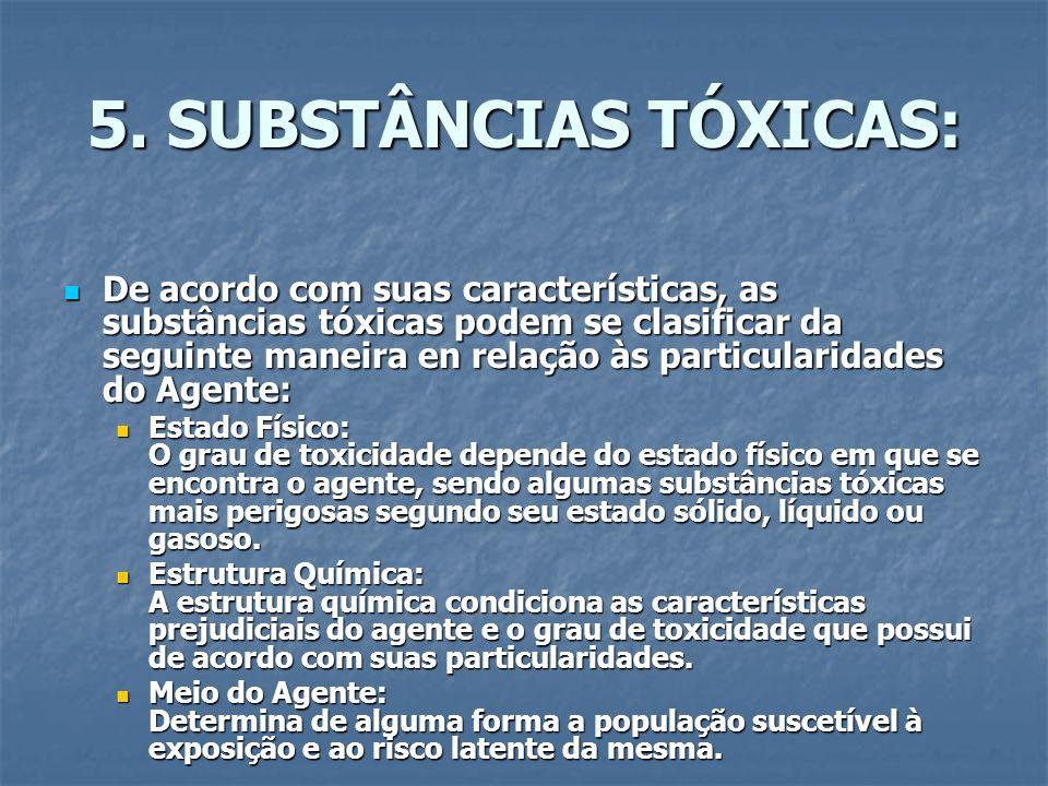 5. SUBSTÂNCIAS TÓXICAS: De acordo com suas características, as substâncias tóxicas podem se clasificar da seguinte maneira en relação às particularida