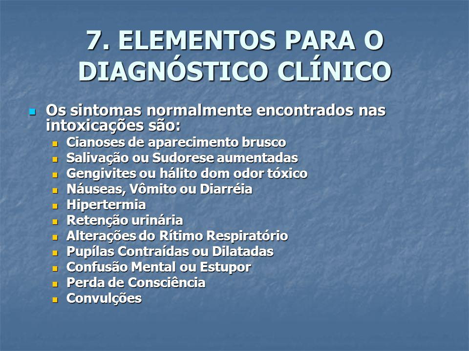 7. ELEMENTOS PARA O DIAGNÓSTICO CLÍNICO Os sintomas normalmente encontrados nas intoxicações são: Os sintomas normalmente encontrados nas intoxicações