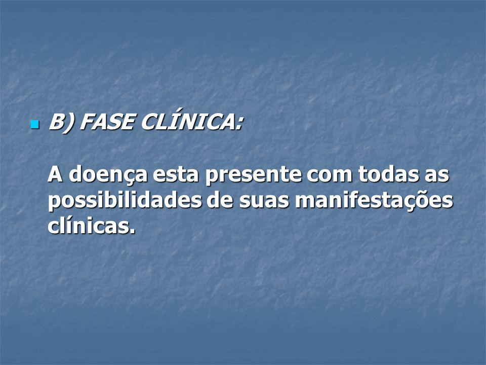 B) FASE CLÍNICA: A doença esta presente com todas as possibilidades de suas manifestações clínicas. B) FASE CLÍNICA: A doença esta presente com todas