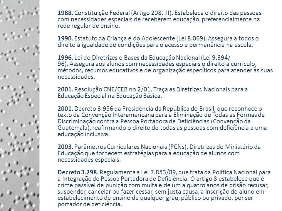 Legislação 1988.Constituição Federal (Artigo 208, III).