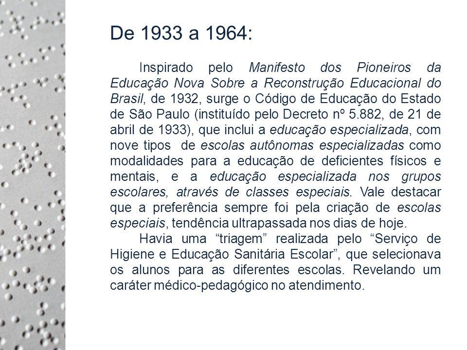 1933: Criação de duas classes para débeis mentais, anexas à Escola Normal Padre Anchieta; 1938: Criação da Secção de Higiene Mental Escolar, para dar apoio as escolas e classes; 1953: Lei nº 2.287, de 3 de setembro de 1953, com a criação de Classes de Braille, onde os alunos deveriam frequentar as aulas comuns do respectivo curso, nas matérias cujo aprendizado depende da visão e nas demais matérias assistência e orientações especiais do encarregado dessas classes; 1956: Lei nº 26.258, com a criação de classes noturnas de 2 horas semanais, como apoio as classes normais;